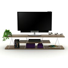 """DecorX Tars Modern TV Stand with Media Shelf for up to 55"""" TV  - Brown/White"""