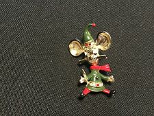Brooch. Book Piece Articulated Body Vintage Signed Bj Christmas Mouse