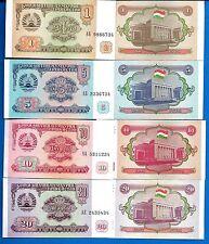 Tajikistan P-1 P-2 P-3 P-4 Former USSR Uncirculated Banknotes SET-2