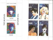 Batum Celebrities Beatles Elvis Monroe Chaplin Lee Miniature Sheet MNH