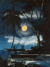 Boating After Dark - Original East African Painting on Art Canvas
