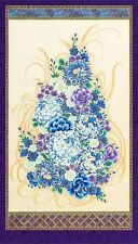 """FLORAL BOUQUET: Purple Asian Japanese Imperial 13 Fabric Panel - 24"""" x 44"""""""