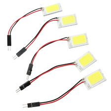 5x White COB 18-LED 12V Plate Dome Car Interior Light Bulb T10 Festoon Adapter