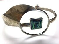 Vintage Oxidized Sterling Silver 925 Mid Century Abstract Abalone Cuff Bracelet