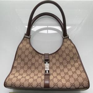 "Gucci Handbag Purse GG Monogram Beige Women's 12"""