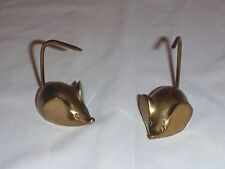 Pr VINTAGE SOLID BRASS MOUSE, MICE FIGURAL POINTED NOTE, PAPER, RECEIPT HOLDER