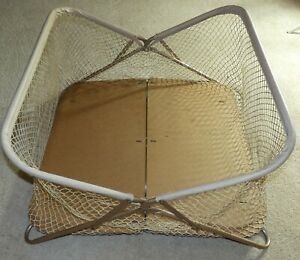 Vintage 1960s baby playpen metal frame/wood bottom/folding & collapsible RETRO!