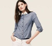 Loft Womens Top Jeweled Collar Chambray Button Up Shirt Long Sleeve Blue Size S