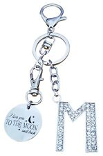 "AM Landen Alphabet M ""L Love you to the moon and back"" Letter M Keychain"