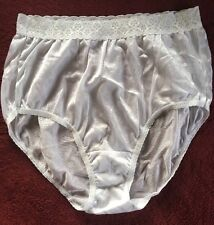 3afc1fb38 Fruit Of The Loom White Nylon Shiny Satin Granny Panties Size 7 Large Lace