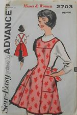 Vintage Advance Sewing Pattern #2703 Misses Size Medium Bib Apron With Pockets