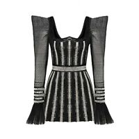 RAISA&VANESSA Embroidered Mini Dress Black Celebrity Luxury Size 38 NWT $3800