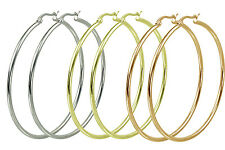 """S.Michael Designs Stainless Steel Set of Three White, Yellow, Rose 2"""" Inch Hoops"""