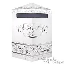 Hexagonal White/Silver Wedding Card Post Box / Receiving Box / Wishing Well