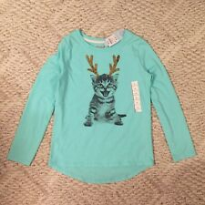 New Cat & Jack Holiday Cat Flip Sequin Antler Reindeer Shirt Girls Size L 10-12