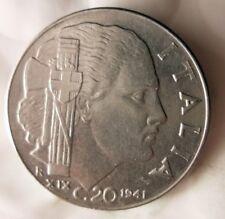 1941 ITALY 20 CENTESIMI - Excellent Fascist WW2 Coin - FREE SHIP - Italy Bin #E