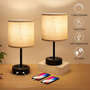Bedside Lamps, Nightstand Lamps for Bedrooms Set of 2, Touch Control Dimmable AC