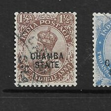 1923-27 CHAMBA, SG56 CAT £250 FINE USED,1 1/2 ANNA, KGV,INDIA INDIAN STATES