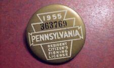 Vintage 1955 Pennsylvania Resident Citizen's Fishing License Gray Pinback Button