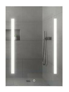 Bathroom Mirror LED Illuminated Demister Shaver Socket Mains 500 x 700mm IP44
