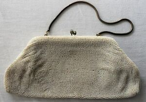 VINTAGE BEADED PURSE White IVORY Women's ACCESSORIES Accessory FORMAL Clutch