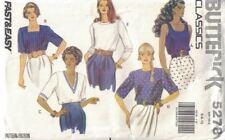 Misses & Petite Tops No Side Seams Pullover Narrow Hem Butterick 5278 Sz 6-10