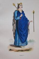 GRAVURE-CHARLES VI ROI DE FRANCE-COSTUMES MOYEN AGE 1847-ANTIQUE  PRINT