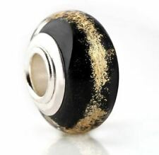 EBONY BLACK GLASS, GILT GOLD FOIL CHARM BEAD FOR BRACELET OR NECKLACE
