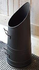 New Fire Place Side Compact Slim BLACK Metal Log COAL Scuttle Bucket Basket