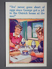 R&L Postcard: Comic, HB 6044 Giant Otrich Eggs, Women Eating Breakfast