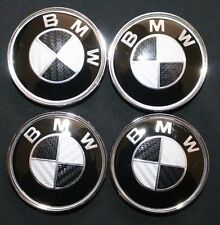 NEW 4pcs BMW Black Silver Carbon Fiber Emblem Badge Logo Wheel Center Hub Caps