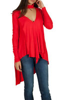Free People Womens Uptown OB770823 Top Relaxed Red Size XS