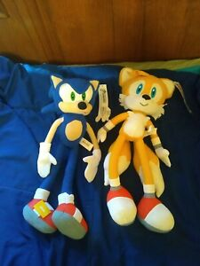 """Large 19"""" SONIC AND TAILS PLUSH LOT Sonic the Hedgehog New with Tags - Kellytoy"""