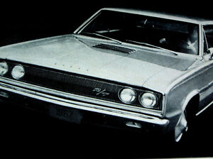 1967 DODGE CORONET R/T VINTAGE AD *440/426 Hemi/decal/grille/emblem/fender/hood
