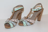 TAMARIS Leder Damen Sandalen 37 Schuhe mit NIETEN leather sandals UK4 WILDLEDER