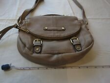 A T purse handbag shoulder taupe crossbody bag GUC gold has marks zipper flap