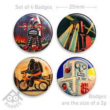 "Vintage Toy Robot Tinplate Badge -1"" Badge x4 Badges NEW - Set 1"