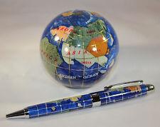 Genuine Multi-Gemstone Globe Paper Weight & Pen Executive Desk Set - Navy Blue
