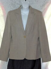 ie Tan Beige Lined Womens Jacket Linen Look Double Breated 1 Button Closure 12