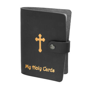 Black Leatherette Holy Card Holder