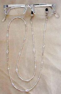 SASSY READING GLASSES CRYSTAL CLEAR SILVER  READERS with MATCHING CHAIN