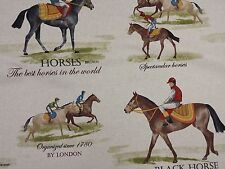 "Girones Horse Racing Cotton Print 137cm/54"" Width Curtain Craft Designer Fabric"