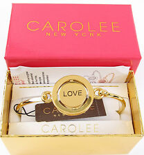 """$60 Carolee GIFTING """"Love"""" WORD PLAY Red Heart Spinning Charm Bracelet NEW"""