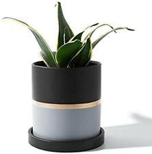 Potey Cylinder Ceramic Plant Pot 4.9 Inch Planters with Black Golden Grey