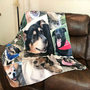 Custom Pet Photo Printed Blanket Your Picture Dog Cat Pet Throw Rug Bedding Gift