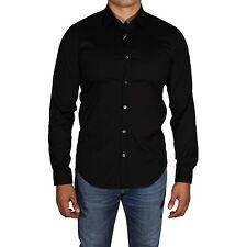Lacoste Mens Slim Fit Stretch Cotton Long Sleeve Button Down Shirt Black 44 17.5