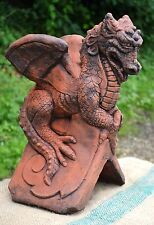 Dragon roof finial 90° angled decorative stone ridge tile 'St Georges' dragon