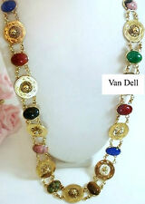 Vintage Jewelry VAN DELL Semi Precious 12k Gold Filled Scarab Belt Necklace 28""