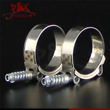 """2pcsx 1.97"""" - 2.28"""" Spring Stainless Steel T-Bolt Silicone Hose Clamps (50-58mm)"""