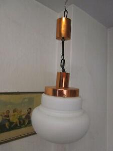 Orig. Lampe Hängelampe Deckenlampe Kette Kugellampe verkupfert um 1960/70